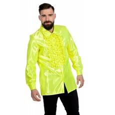 Ruchesblouse satijn neon geel
