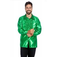 Ruchesblouse satijn groen Kevin
