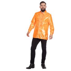 Ruchesblouse satijn oranje Kevin