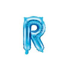 Folieballon Licht Blauw Letter 'R' - 35cm