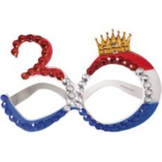 Bril Rood/Wit/Blauw 30 met kroontje