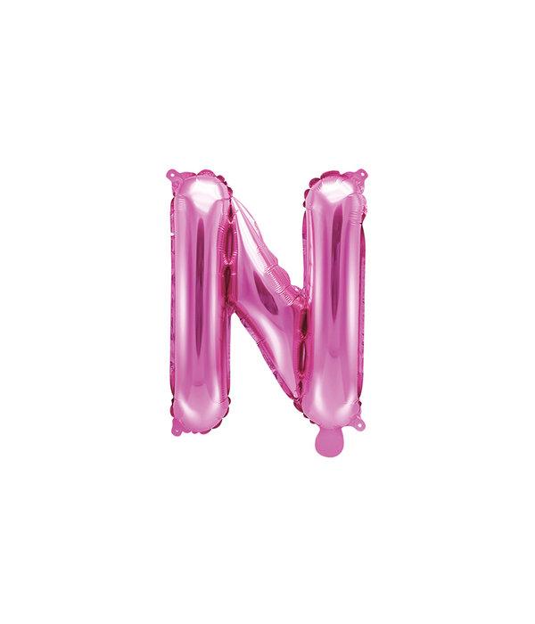 Folieballon Letter 'N' Donker Roze - 35cm
