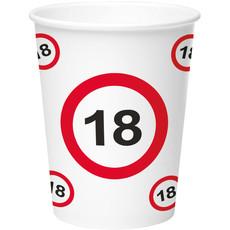 Bekers Verjaardag Verkeersbord 18 Jaar - 8 Stuks