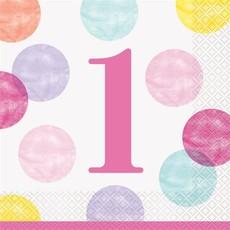 Servetten 1 Jaar Verjaardag Stippen Roze