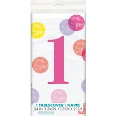 Tafelkleed 1 Jaar Verjaardag Stippen Roze