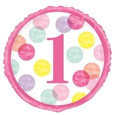 Folieballon 1 Jaar Verjaardag Stippen Roze
