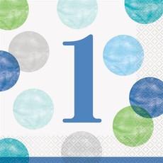 Servetten 1 Jaar Verjaardag Stippen Blauw