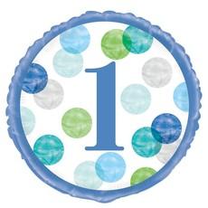 Folieballon 1 Jaar Verjaardag Stippen Blauw