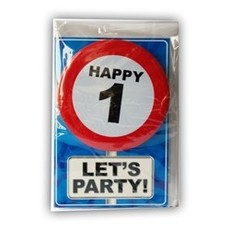 Happy Age Kaart - 1 jaar - Let's Party