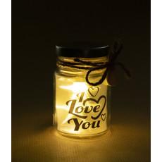 Glazen Lichtgevende Pot 'I Love You'