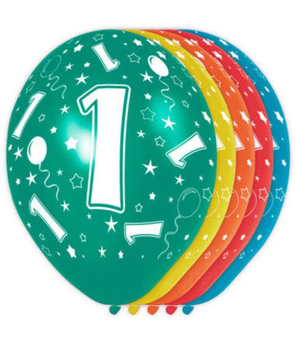 1 Jaar Verjaardag Ballonnen 5 Stuks