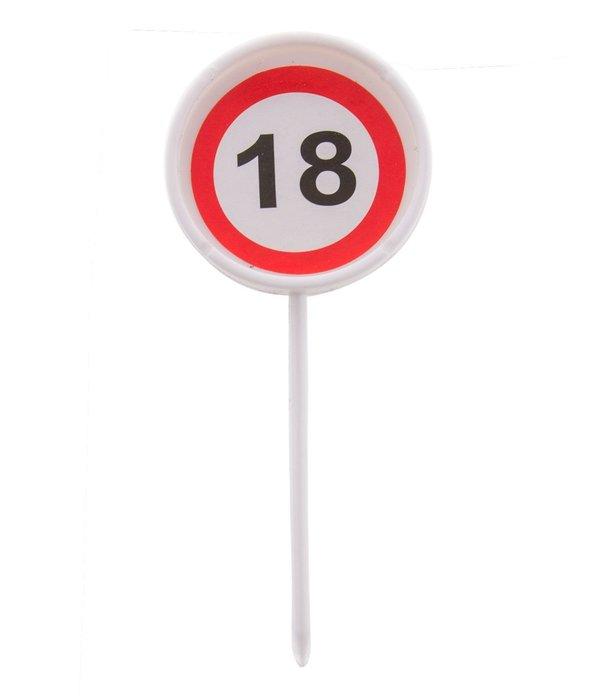 12 herbruikbare coctailprikkers verkeersbord 18 jaar