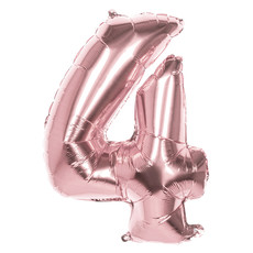 Folieballon '4' Roségoud groot