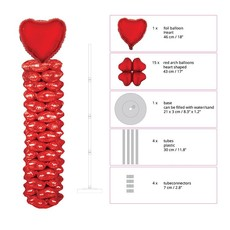Folie ballonnenpilaar Valentijn Rood