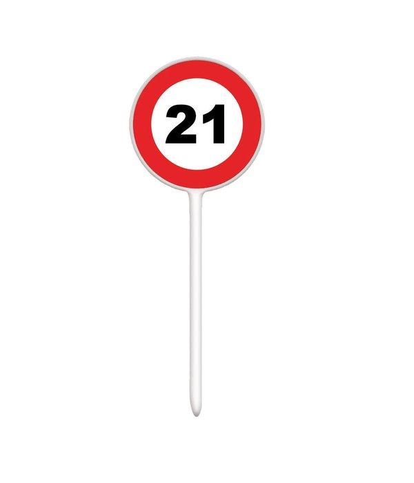 12 herbruikbare coctailprikkers verkeersbord 21 jaar