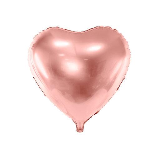 Folieballon Hart Metallic Rosegoud - 45 cm