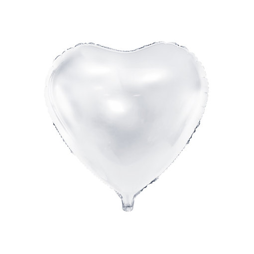 Folieballon Hart Metallic Wit - 45 cm