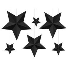 Decoratie Sterren Zwart 6 stuks