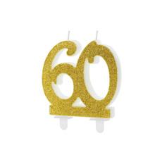 Taartkaars 60 Jaar Goud Glitter