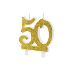 Taartkaars 50 Jaar Goud Glitter