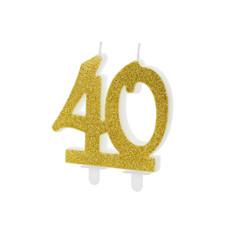 Taartkaars 40 Jaar Goud Glitter