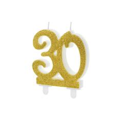Taartkaars 30 Jaar Goud Glitter
