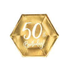 Bordjes 50th Birthday Goud - 6 Stuks
