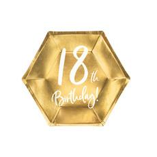 Bordjes 18th Birthday Goud - 6 Stuks