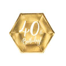 Bordjes 40th Birthday Goud - 6 stuks
