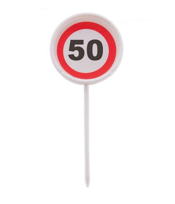 12 herbruikbare coctailprikkers verkeersbord 50 jaar