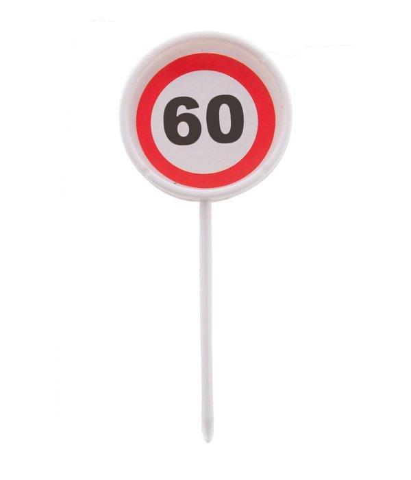 12 herbruikbare coctailprikkers verkeersbord 60 jaar