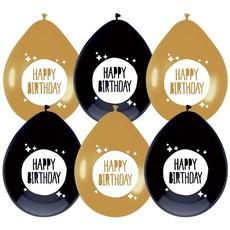 Ballonnen Happy Birthday Zwart/Goud - 6 Stuks