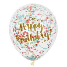 Confetti Ballonnen Happy Birthday - 6 Stuks