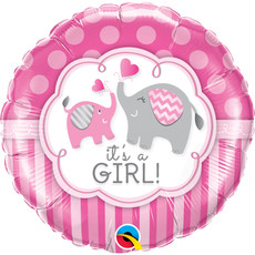 Folieballon It's A Girl Roze Olifant - 45 cm