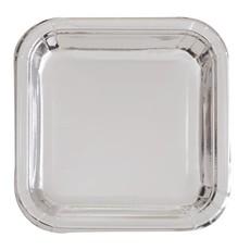 Feestbordjes Zilver Vierkant - 8 Stuks
