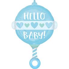 Folieballon Hello Baby Blauw Rammelaar