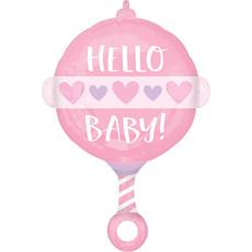 Folieballon Hello Baby Roze Rammelaar
