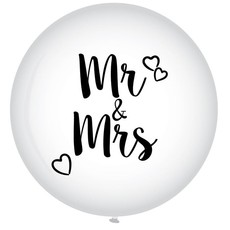 XL Ballon Mr. & Mrs. Wit - 90 cm