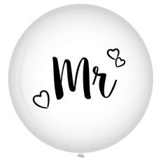 XL Ballon Mr. Bruiloft Wit - 90 cm