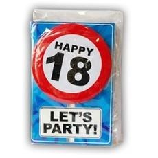 Happy Age Kaart Button - 18 Jaar