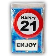 Happy Age Kaart Button - 21 Jaar