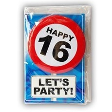 Happy Age Kaart Button - 16 Jaar
