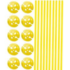 Ballonstokjes met Houders Geel - 10 stuks