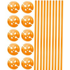 Ballonstokjes met Houders Oranje - 10 stuks