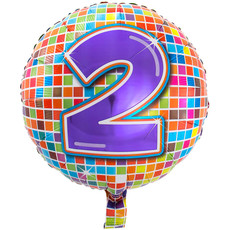 2 jaar Birthday Blocks folieballon - 43 cm