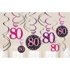 80 Jaar Hangdecoratie Swirls Mix Pink