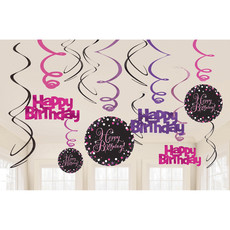 Happy Birthday Hangdecoratie Swirl Mix Pink