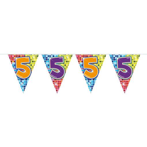 Vlaggenlijn 5 Jaar Birthday Blocks - 6 Meter