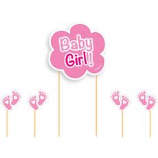Taart Topper Set Geboorte Baby Girl