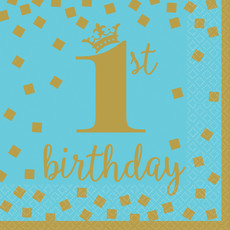 Servetten 1st Birthday Blauw/Goud - 16 Stuks